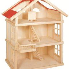 Trijų aukštų medinis lėlių namas