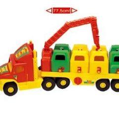 Trijų šiukšlių rūšiavimo automobilių su konteineriais komplektas, 3 vnt