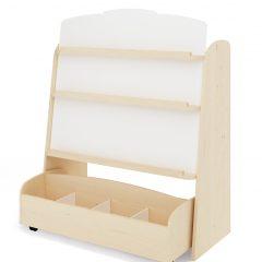 Rinkinys: dvipusis knygų stovas su mobilia daiktų laikymo dėže