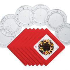 Matematinių diskų, su darbo kortelėmis ir stovais, rinkinys