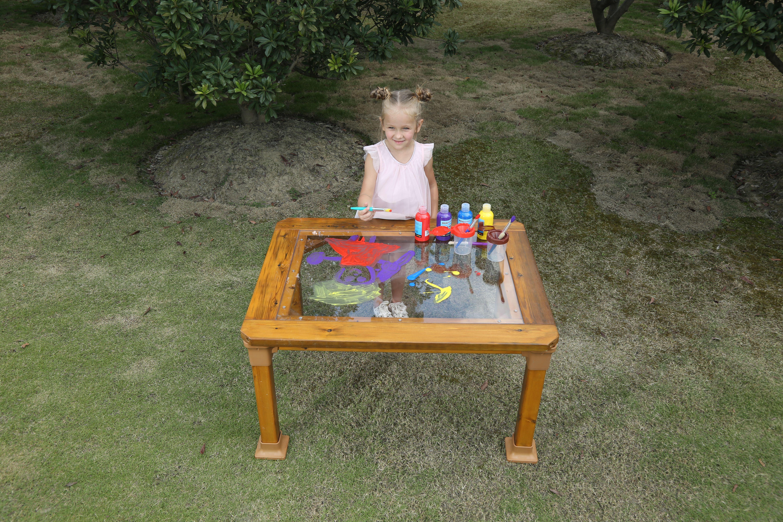 Lauko stalas su permatomu stalviršiu/mažas